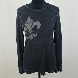 Affliction women S thermal long sleeve top distres